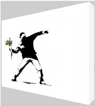 Banksy Flower Thrower Canvas Art - Choose your size - Ready to Hang - Free P&P